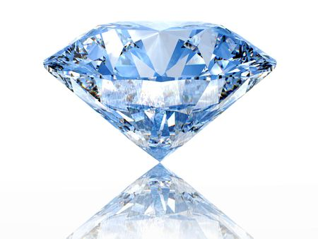 diamond stone: Blue diamond on  white background  with reflection