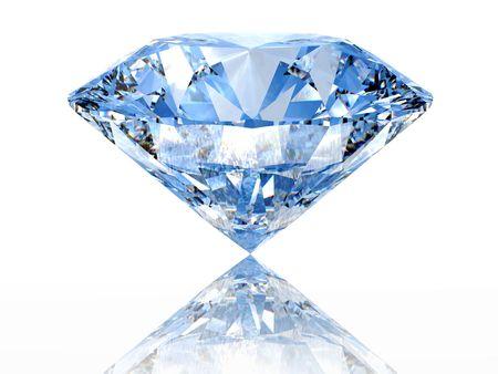 diamante: Diamante azul sobre fondo blanco con la reflexi�n