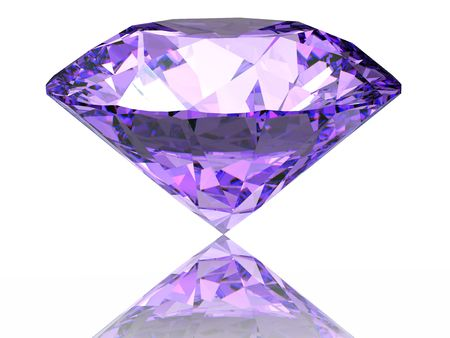 diamond stones: Purple diamond on  white background  with reflection