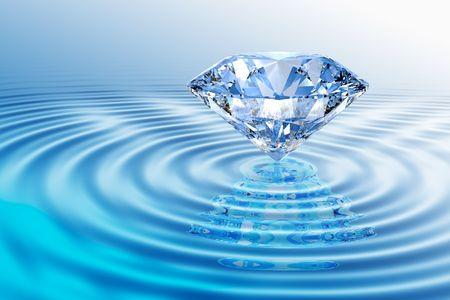 리플렉션 사용 하여 rippled 물에 블루 다이아몬드