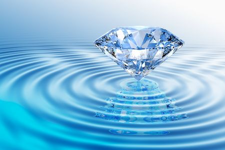 diamond stone: Blue diamond on  rippled water  with reflection