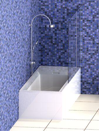 Modern bath tub  with blue mosaic tiles and white floor photo
