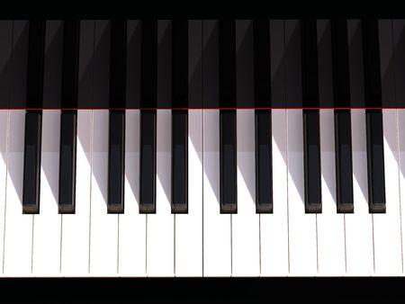piano keyboard: 3D rendering of  keyboard on black piano