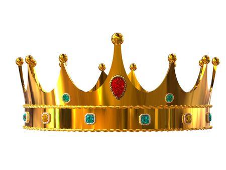 couronne royale: Couronne d'or sur fond blanc isol�