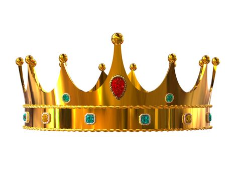 Golden crown isolated on white background