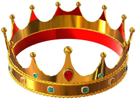 royal person: Golden crown isolated on white background