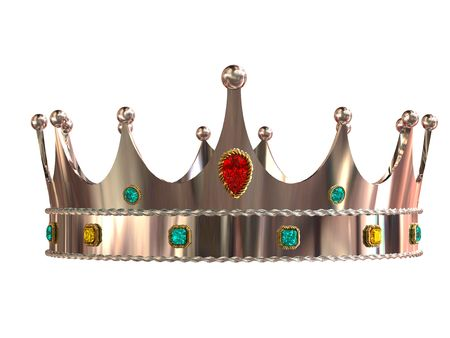 Silver crown isolated on white background photo
