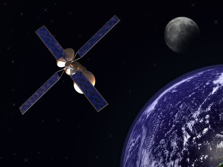satelite: Communication satelite in earth orbit with moon in background Stock Photo