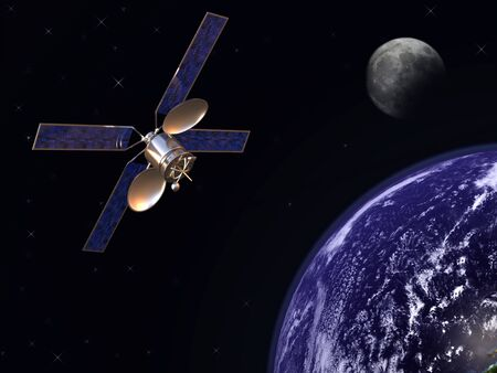 Communication satelite in earth orbit with moon in background Stock Photo