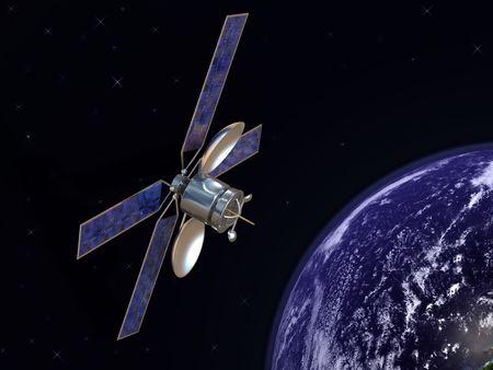 antena parabolica: Comunicaci�n por sat�lite en �rbita con la tierra en el fondo
