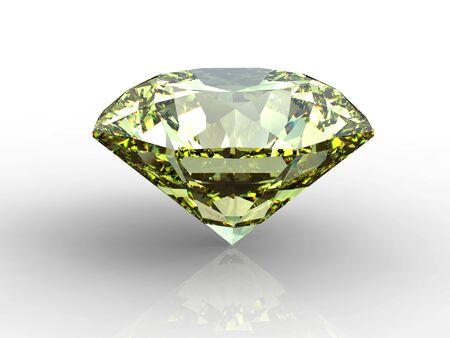 Yellow diamond on white background with reflection Stock Photo - 4581206