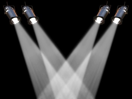 spot lit: Two white spot lights on black background Stock Photo