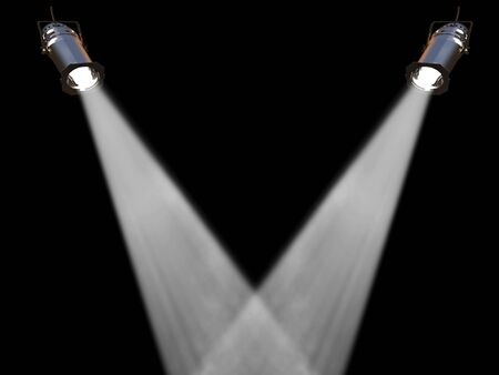 spot lit: Two white spot lights on black background Stock Photo