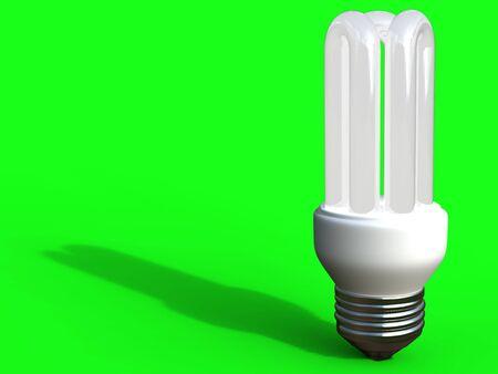 bombillo ahorrador: Bombilla de ahorro de energ�a sobre fondo verde
