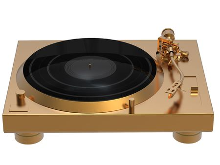 3D rendering of golden turntable isolated on white background photo