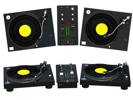 dj mixer: 3D rendering DJ mixing set isolated on white background Stock Photo