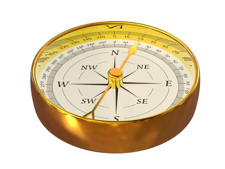 magnetic north: 3D rendering of magnetic compass on white background