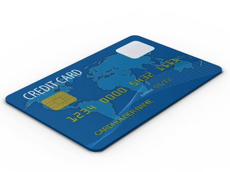 Blue credit card close up on white background