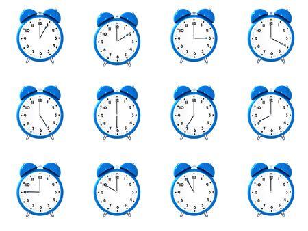 sept: Douze bleu r�veil � l'affiche diff�rents temps isol� sur fond blanc