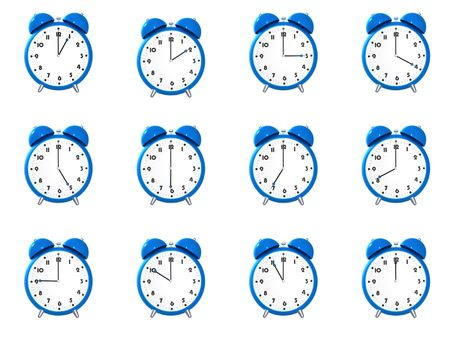 Twelve blue alarm clocks showing different time isolated on white background