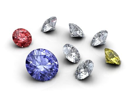 Red, blue, white and yellow diamonds on white background
