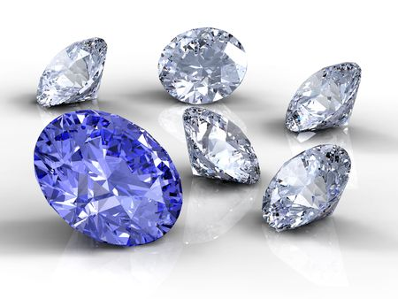 diamond stone: Blue and white  diamonds on white background
