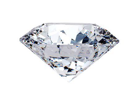piedras preciosas: Lado White Diamond de vista sobre fondo blanco
