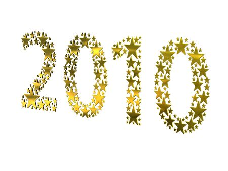 2010 made from golden stars on white background photo