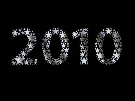 2010 made from silver stars on black background photo