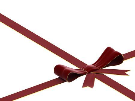 velvet ribbon: 3D rendering of velvet red bow and ribbon on white background