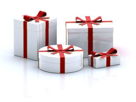 four white 3D  gift boxes  on white background photo