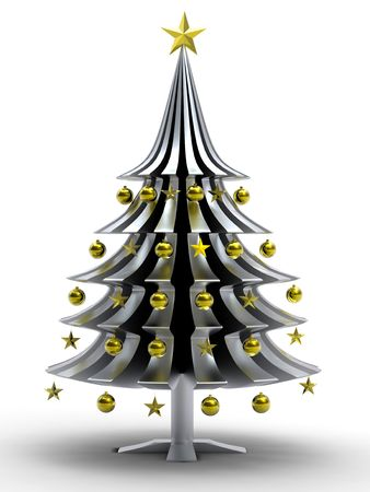 Christmas tree made from golden stars on white background