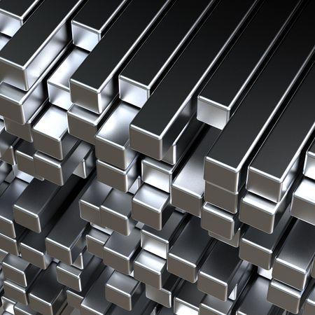 3d abstract silver metal bars