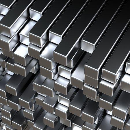 objetos cuadrados: barras de metal plata abstractas 3D