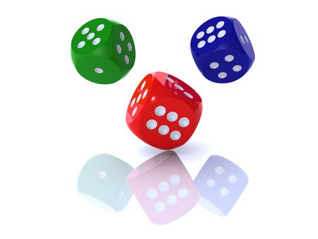 3D rendering of colorful dices on white background photo