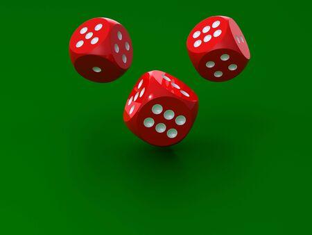 Representaci�n 3D de dices rojos sobre fondo verde Foto de archivo - 5861496