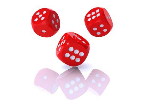 Representación 3D de dices rojos sobre fondo blanco Foto de archivo - 5861491
