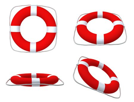 Red life belts isolated on white background photo