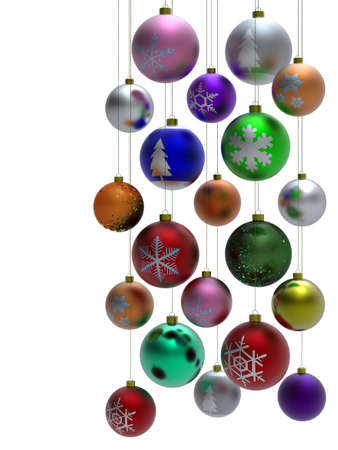 Colorful Christmas ball isolated on white background photo