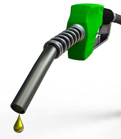 fuels: Green fuel nozzle with golden droplet on white background