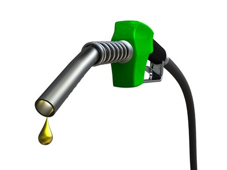 refueling: Green fuel nozzle with golden droplet on white background