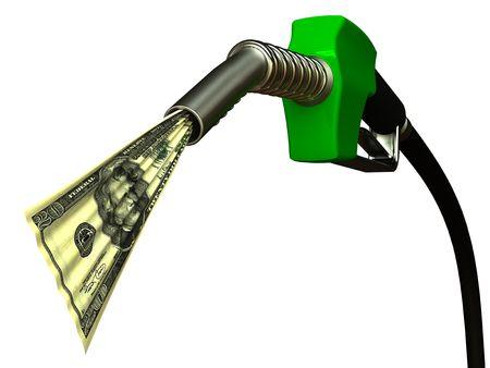 fuelling station: Boquilla de combustible rojo con 20 dólares sobre fondo blanco Foto de archivo