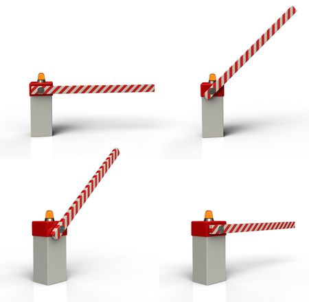 road barrier: Barrier gate 3d rendering on white background Stock Photo
