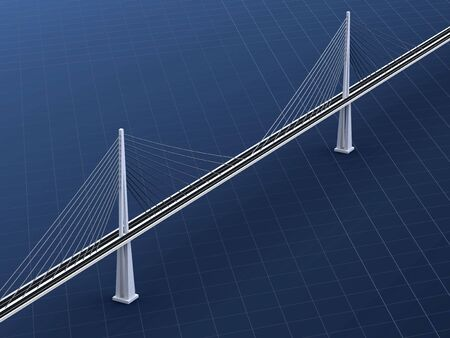 suspension bridge: 3d rendering of modern suspension bridge on blue background Stock Photo