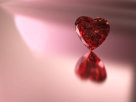 3D rendering of red heart shape diamond on pink background