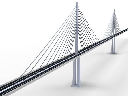 suspension bridge: 3d rendering of modern suspension bridge on white background Stock Photo