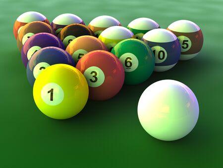 Billiard balls set close up on green table photo