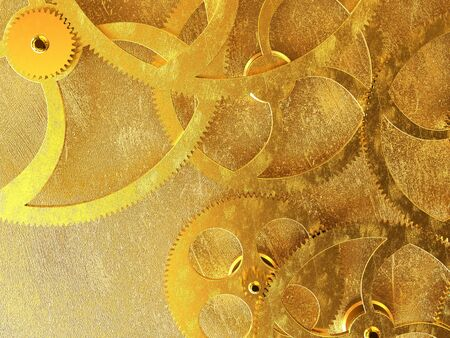 3D rendering of old golden gears background Stock Photo