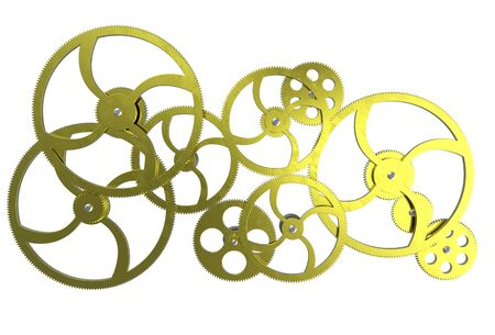 3D rendering of old golden gears background Stock Photo - 6421696