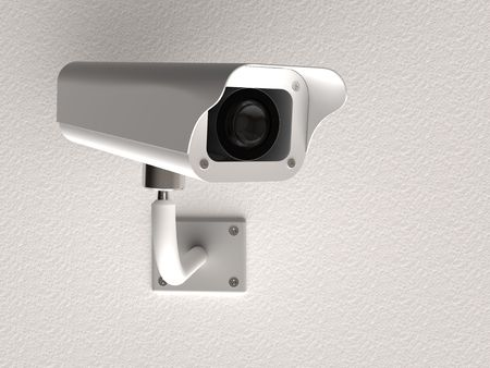 alarm system: 3d rendering of surveillance camera on white wall